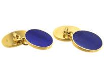 18ct Gold & Lapis Lazuli Oval Cufflinks by Cropp & Farr
