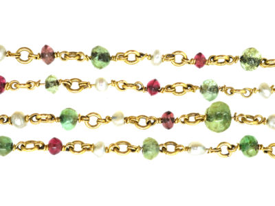 Edwardian 18ct Gold, Emerald, Ruby & Natural Pearl Chain