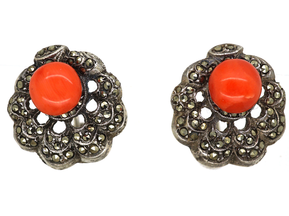 Art Deco Silver, Marcasite & Coral Screw On Earrings