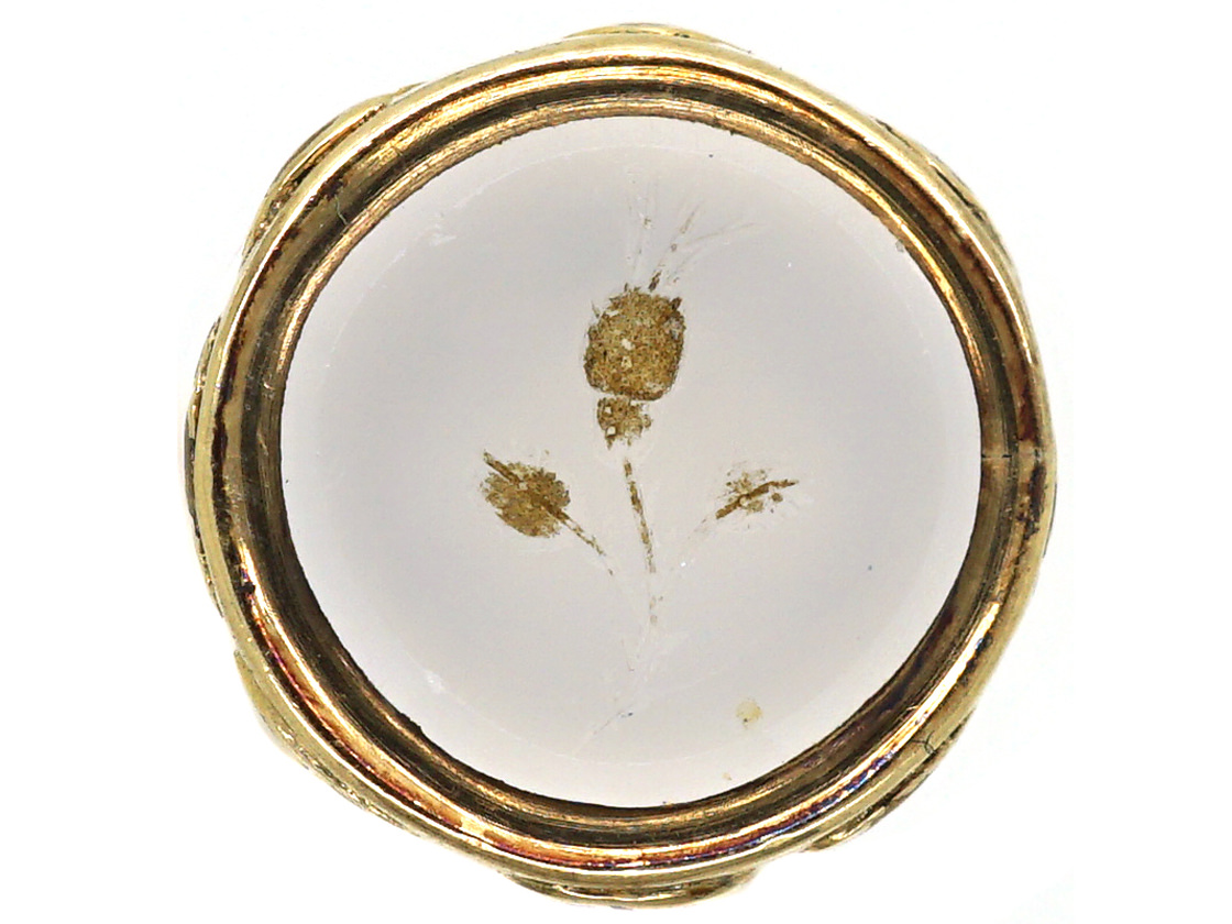 Regency 15ct Gold Cased Small Seal with Chalcedony Intaglio of a Thistle