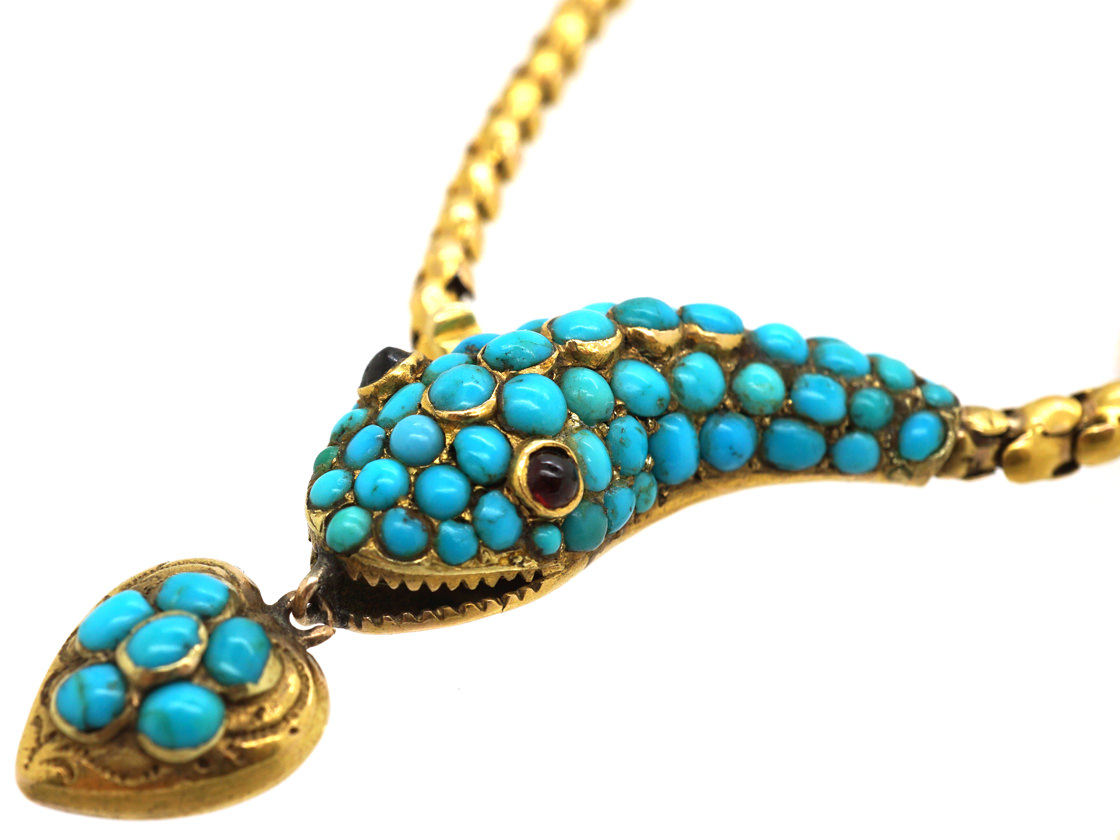 Victorian 18ct Gold Snake Necklace with Turquoise Studded Head