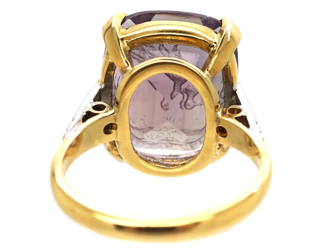 18ct Gold, Diamond & Amethyst Ring with Intaglio of a Bird