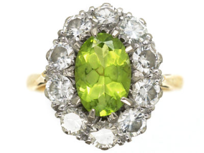 18ct Gold Peridot & Diamond Oval Cluster Ring