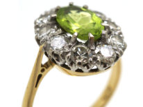 18ct Gold Peridot & Diamond Oval Cluster Ring