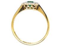 Art Deco 18ct Gold & Platinum, Emerald & Diamond Square Ring