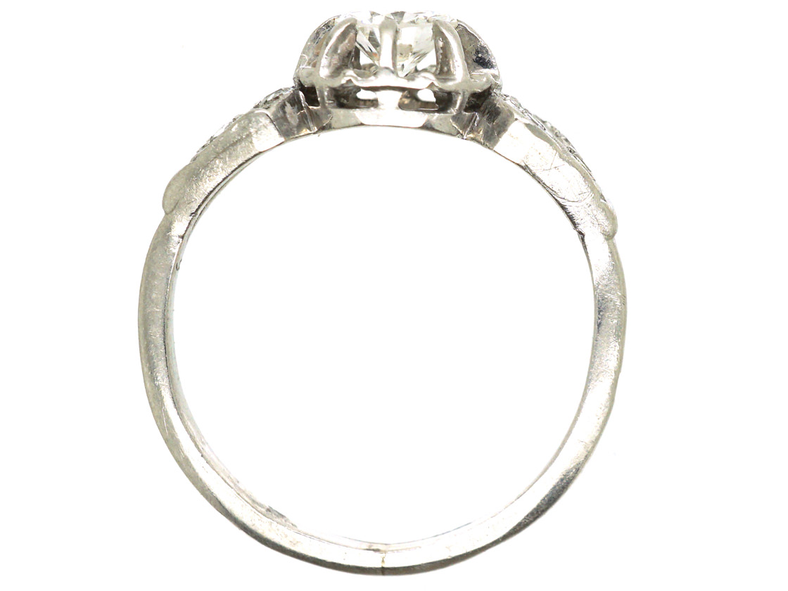 French Art Deco Platinum & Diamond Ring with Pierced Slanted Shoulders