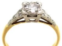 Art Deco 18ct Gold Diamond Ring With Step Cut Diamond Set Shoulders