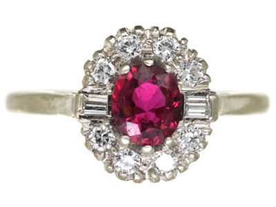Art Deco 18ct White Gold & Platinum, Ruby & Diamond Cluster Ring