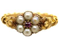Regency 15ct Gold , Natural Split Pearl & Ruby Cluster Ring