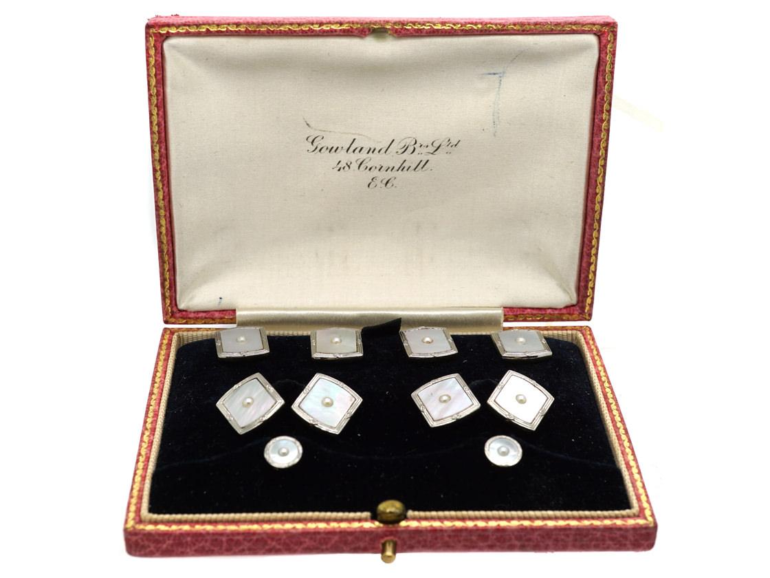 Art Deco 18ct Gold, Platinum, Mother of Pearl & Natural Split Pearl  Dress Set