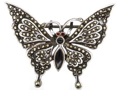Silver, Marcasite & Onyx Butterfly Brooch