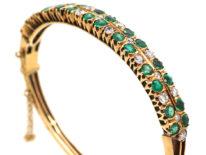 Edwardian 18ct Gold, Diamond & Emerald Bangle