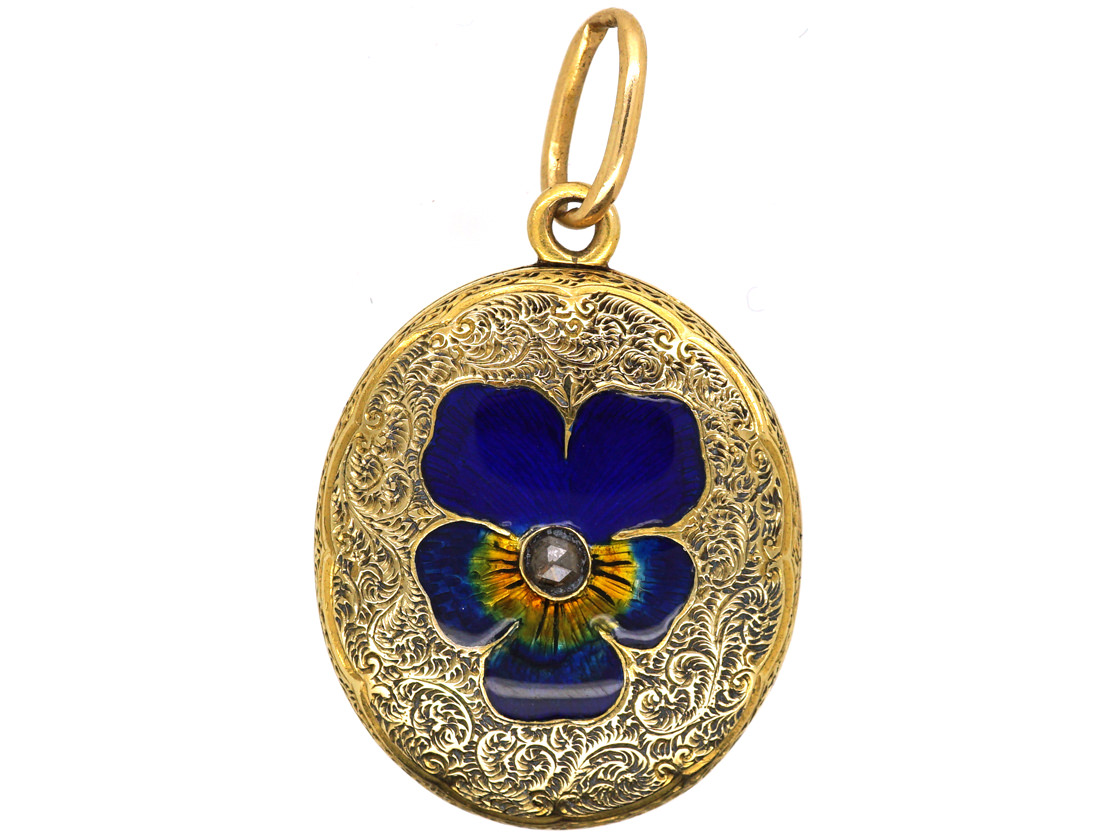 Victorian 15ct Gold Oval Locket With Enamel & Rose Diamond Pansy Motif