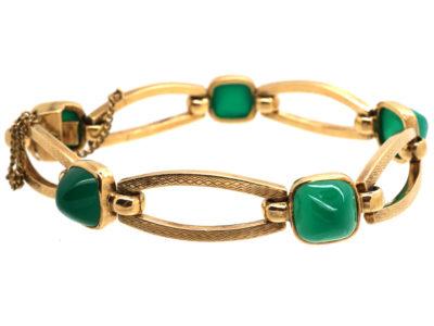 9ct Gold & Green Chalcedony Bracelet by Deakin & Francis