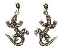 Silver & Marcasite Lizard Earrings