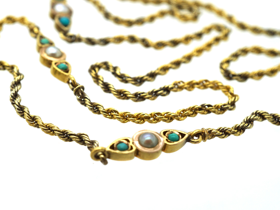 Edwardian 15ct Gold Long Guard Chain set with Natural Split Pearls & Turquoise
