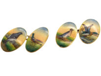 Edwardian 15ct Gold Enamelled Cufflinks with Game Birds