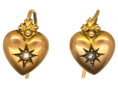 Edwardian 9ct Gold Heart Shaped Earrings set with a Pearl