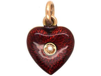 Edwardian 9ct Gold, Red Enamel & Pearl Heart Shaped Pendant