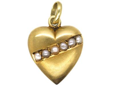Edwardian 15ct Gold & Natural Split Pearl Heart Shaped Pendant