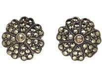 Silver & Marcasite Clip-On Flower Earrings