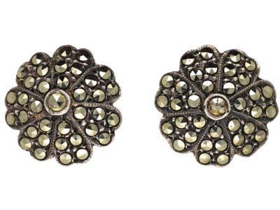 Silver & Marcasite Clip-On Flower Earrings