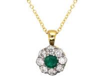 18ct Gold, Emerald & Diamond Cluster Pendant on 18ct Gold Chain