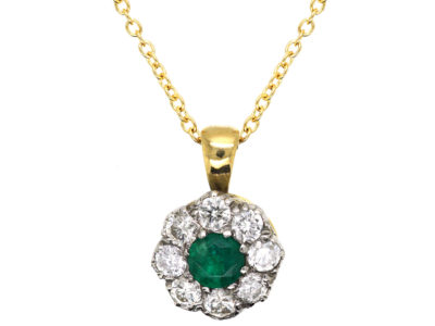 18ct Gold, Emerald & Diamond Cluster Pendant on 18ct Gold Chain
