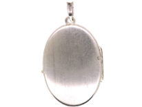 Oval Silver Engraved Flowers Locket