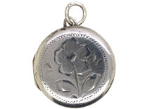 Round Silver Locket Engraved with a Flower