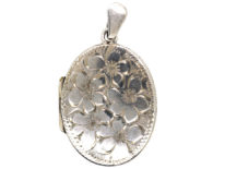 Silver Oval Locket Engraved with Flowers