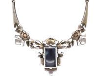 Art Deco Silver, Marcasite & Opal Doublet Necklace