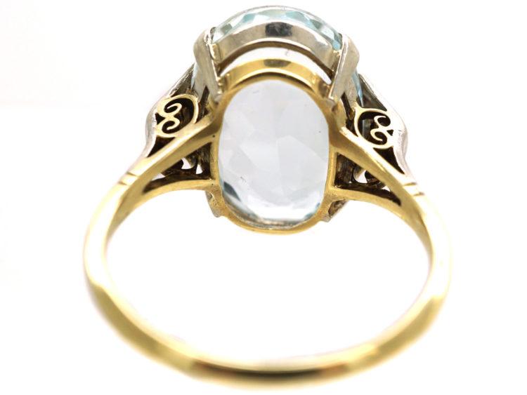 Art Deco 14ct Gold, Diamond & Aquamarine Ring