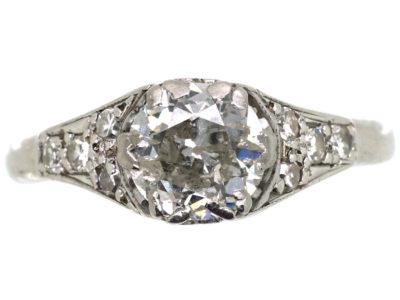 Art Deco 18ct white Gold, Platinum & Diamond Solitaire Ring with Diamond Set Shoulders
