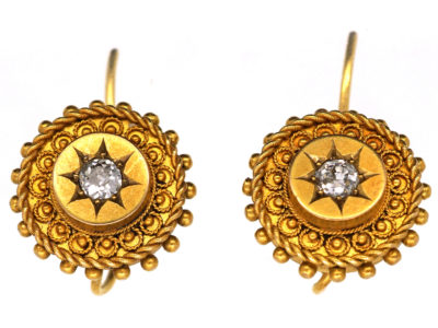 Victorian 18ct Gold Earrings Set With a Diamond