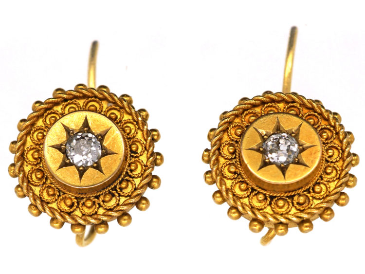 Victorian 18ct Gold Earrings Set With A Diamond The Antique Jewellery Company