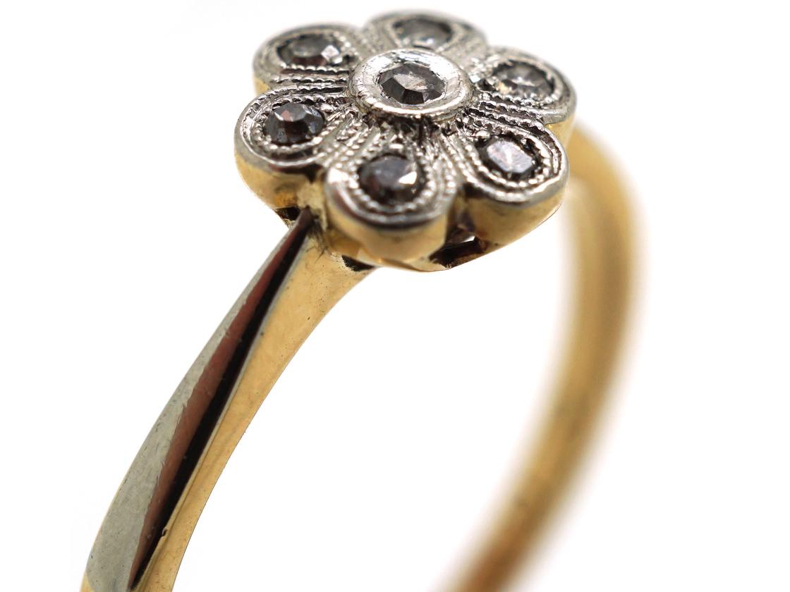Edwardian 18ct Gold, Platinum Diamond Small Cluster Ring