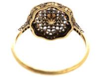 Edwardian 18ct Gold, Platinum, Rose Diamond & Natural Pearl Cluster Ring