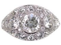 French Art Deco Platinum Three Stone Diamond Ring with Diamond Detail