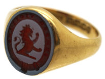 18ct Gold & Carnelian Signet Ring with Lion Intaglio