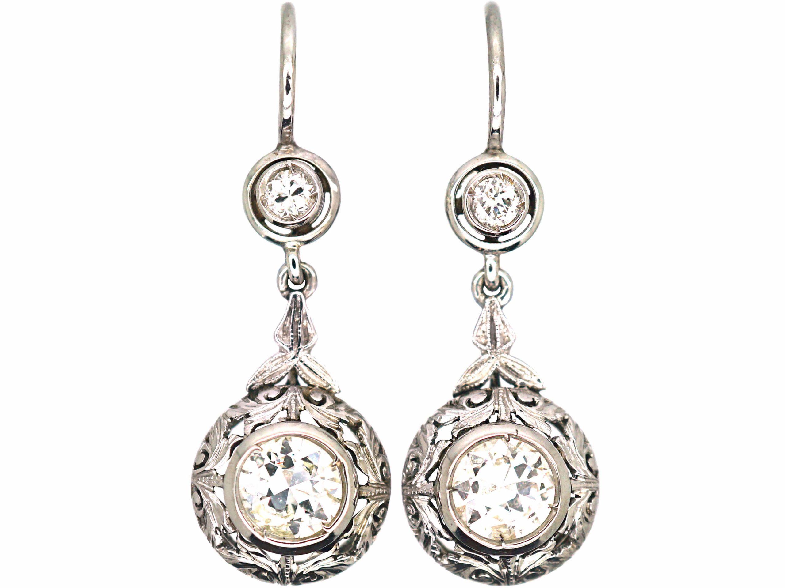 Art Deco 18ct White Gold & Diamond Drop Earrings