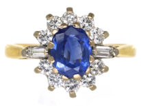18ct Gold, Sapphire & Diamond Oval Cluster Ring