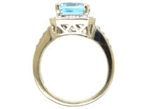 18ct White Gold, Aquamarine & Diamond Rectangular Ring with Diamond Set Shoulders