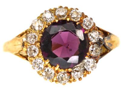 Edwardian 18ct Gold, Garnet & Diamond Cluster Ring