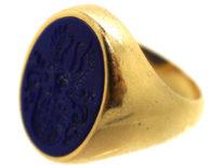 18ct Gold & Lapis Lazuli Signet Ring With Crest Intaglio