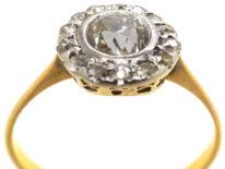 Edwardian 18ct & Platinum, Diamond Daisy Cluster Ring