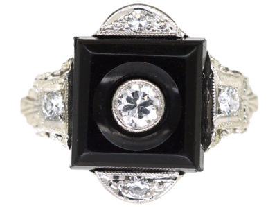 Art Deco 18ct White Gold , Onyx & Diamond Ring