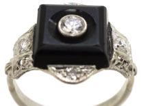 Art Deco 18ct White Gold , Onyx & Diamond Ring
