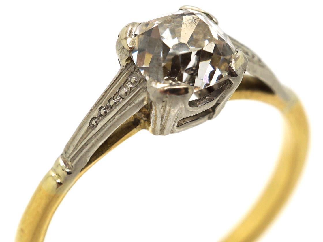 Art Deco 18ct Gold & Platinum, Old Mine Cut Diamond Solitaire Ring