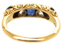 Victorian 18ct Gold, Sapphire & Diamond Five Stone Carved Half Hoop Ring